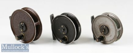 """2x J W Young & Sons Pridex 3"""" trout fly reels a grey and black mottled finish examples, dimple"""