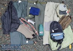 Collection of water proof trousers assortment fishing accessory bags, back packs, waist belts