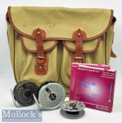 Good John L Chapman & Co Canvas and Leather Fishing Tackle Bag, Fly Reels and Fly lines (6) – good