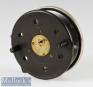 """Unnamed Slater Style 5"""" ebonite & brass combination reel with aluminium rear drum flange, brass drum"""