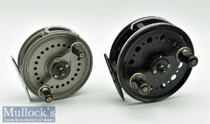"""J W Young & Sons 4"""" Landex medium width fly reel with wire line guide, black mottled finish,"""