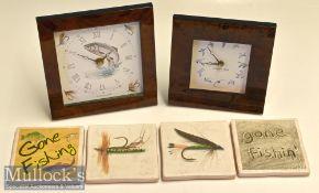 2x Fishing and Game Bird Mantle clocks and various wine coasters (6) – both Kienzle Quartz Germany