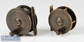 """PD Malloch Maker Perth 2¾"""" all brass plate wind fly reel with maker's early shield logo to face"""