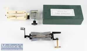 """2x Fly-Line line winders – Hide & Hides Ltd """"Silver Fin Line Winder"""" in makers box (G) and a Sextile"""