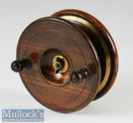 """Nottingham wood and brass star back 5"""" reel with brass line back plate and partial rear drum flange,"""