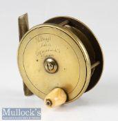 "Holroyd Maker, 59 Gracechurch Street, London brass plate wind trout fly reel c1885 – 2.75"" dia –"