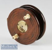 "Early 4"" Nottingham wood and brass star back reel with fish tail brass back, slipper drum latch"