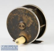 """P D Malloch Perth 3 ½"""" brass and ebonite fly reel with nickel silver rims, smooth bridged foot,"""