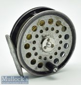 """Scarce """"The Fideliter' No. AFR1 alloy trout fly reel - 3 7/16"""" dia , 3 screw drum release latch,"""