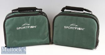 2x Sportfish green canvas multiple reel carrying cases – both with adjustable compartments to hold