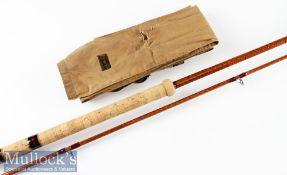 "B James & Son England ""Richard Walker Mk. IV"" split cane Avon rod – 10ft 2in 2pc partially"