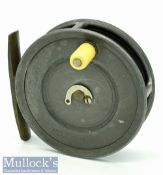 """Early Hardy's """"Patent Uniqua"""" 3 1/8"""" alloy trout fly reel c1903 – stamped with makers straight"""