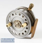 "Scarce Reuben Heaton The 'Bute' Patent alloy Silex style casting reel – 3.5"" dia with ivorine crazed"