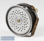 """C Farlow & Co London, Eunuch Perfect style 4"""" alloy salmon fly reel with 'holdfast' logo,"""
