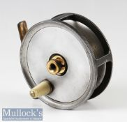 """Hatton Bros of Hereford 3 ¾"""" Fly Reel Centabrake No1 patent 27023^ ivorine handle^ fixed check^"""