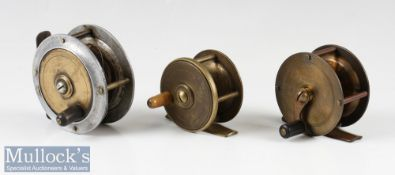 """Early S Allcock 2 ¼"""" brass crank wind reel three pillar^ fixed check^ plus an unnamed 2"""" brass"""