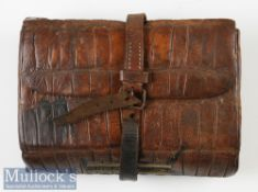 G Little & Co 63 Haymarket London Tooled Leather Fly Wallet internal parchment pages^ compartment