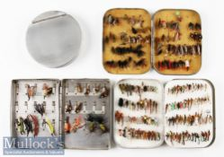"""Alloy Fly and Cast Box Selection to include S. Allcock 5x3 ½"""" fly tin with assorted low water Salmon"""