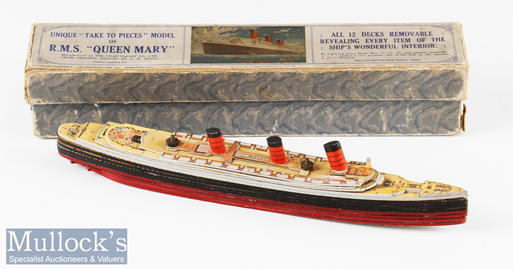1936 Chad Valley RMS Queen Mary Cardboard Model in original box a unique 'take to pieces' model^