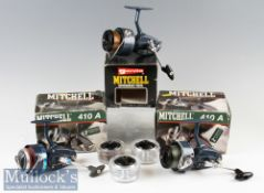 Mitchell 410A LHW Fixed Spool Reels in light blue finish^ full bail arm^ silent anti-reverse wit