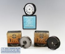 """3x Boxed Fly Reels to include JW Youngs 'Condex' 3 ½"""" trout reel plus Edgar Sealey 3 ½"""" 'Flyman' fly"""