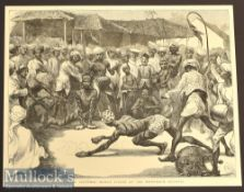 India – Human Tigers at the Mohurrum Festival original engraving 1872 measures 31x24cm approx