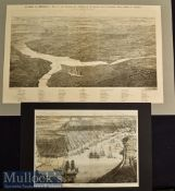 Americana – 1862 War on the Potomac in Virginia State and View of New Orleans Woodblock
