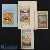 Mughal Miniature Paintings - Collection of Four Fine Paintings of Mughal Court & Hunting Scene Circa