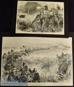India – Two Original 1876 Engravings The Prince of Wales in the Terai^ Beating the Jungle measures