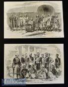 India - Arrah - Kor Sing 'The Rebel of Arrah' and his attendants original engraving 1857 laid to