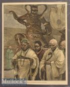 India – Buddhist Monks at the entrance to Ku-Shan Monastery Engraving mounted measures 37x49cm