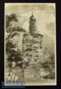 India - Akalis Tower at Umritzer original engraving 1858 from a drawing by W Carpenter measures