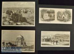 India & Punjab – Four Original Engravings The Rookum Alum Mooltan 1863 25x16cm plus View of the Town