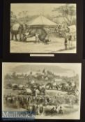 India – Two Original Engravings Elephant Steeple Chase in Rangoon 1858 36x26cm and An Elephant