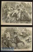 India – Two Original 1876 Engravings Tiger Shooting with Sir Jung Bahadoor and Pudding a Tiger