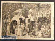 India – Scarce 1858 Engraving The Elephants of the Rajah of Travancore by Frank Vizetelly from a