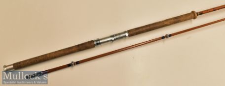 J S Sharpe Aberdeen Spinning Rod 9ft 3in Scottie brand split cane cork handle^ 2 piece^ paint to