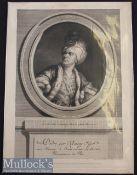 Le Kain^ Henri Louis Cain (1728-1778) Engraved Portrait by A de St Aubin after S B Le Noir^ with