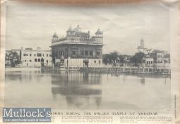 India Golden Temple - Original 19th century large print of the holiest Sikh shrine the golden temple