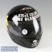 FM Motorcycle Full Face Helmet with applied stickers Steve Fallon 'The Gladiator' and helmet