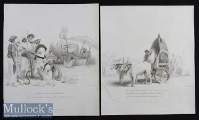 India - James Forbes 1813 Copper Plates entitled An Indian Hackeree drawn by Guzerat Oxen and