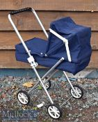 1970s Children's Pram/Push Chair in blue cloth^ measures 50cm in length approx.