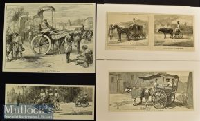 India – Transport – 6x Original engravings 1875 to 1882 Afternoon in the Himalayas 38x24cm^
