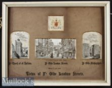 """A Four Stevengraphs (Woven Silk Pictures) In an Original Printed Mount Entitled """"Views Of Ye Olde"""