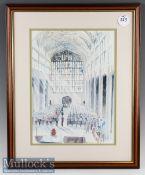 David Crick Colour Print of Ceremonial Scene framed measured 43x53cm