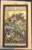 Early 20th Century Mughal Hunting Scene Miniature Painting with gold leaf^ depicts^ Horseback