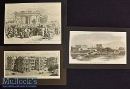 India – Calcutta – Six Engraved Views to include Princep's Gate^ Townhall^ Plassey Gate etc 1870