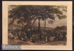 India – Arrival of Contingent Force of Sikh Irregular Cavalry hand coloured engraving mounted