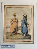 Selection of Asian Aquatints – coloured various scenes mounted measures 25x36cm overall (5)