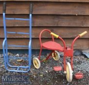 Childs Metal Pedal Tricycle in red^ measures 50cm in length^ height to seat 30cm approx.^ together